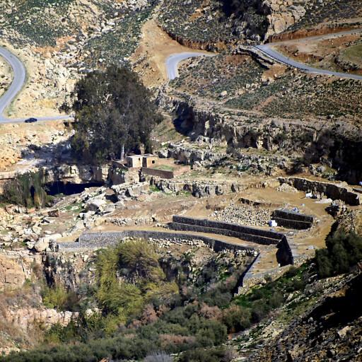 panorama of ruins at Khirbet Ayun Musa