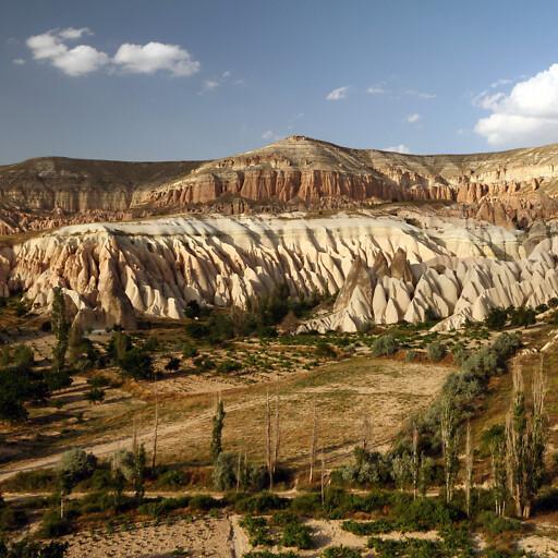 panorama of cliffs in Cappadocia