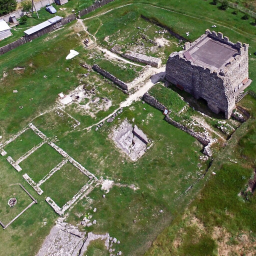 aerial panorama of ruins at Scythian Neapolis