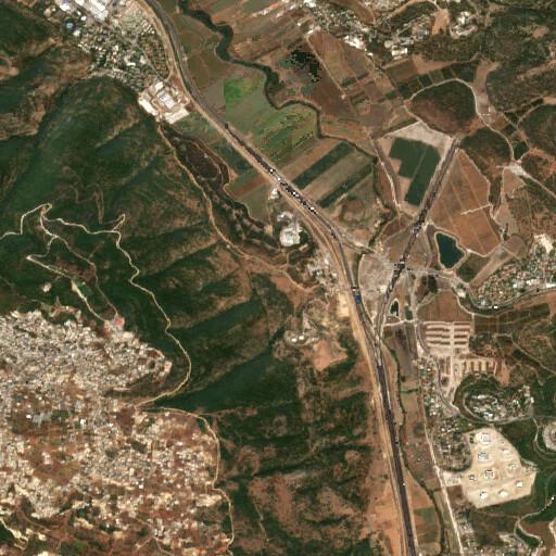 satellite view of the region around Khirbet Jelameh