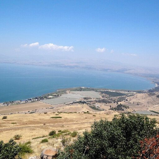 panorama of part of the eastern side of the Sea of Galilee