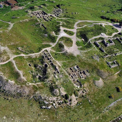aerial panorama of ruins at Tel Bet Shemesh