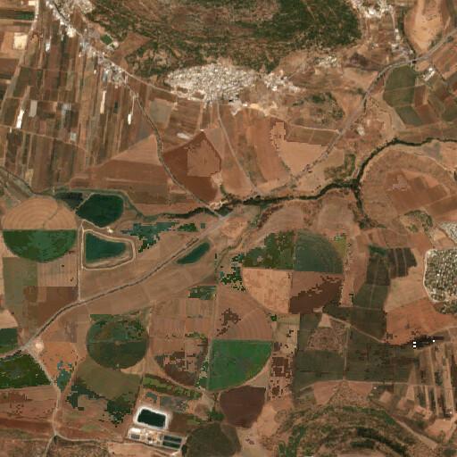 satellite view of the region around Tell Qisyon