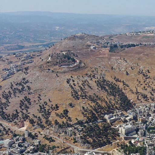 aerial panorama facing south of Mount Gerizim