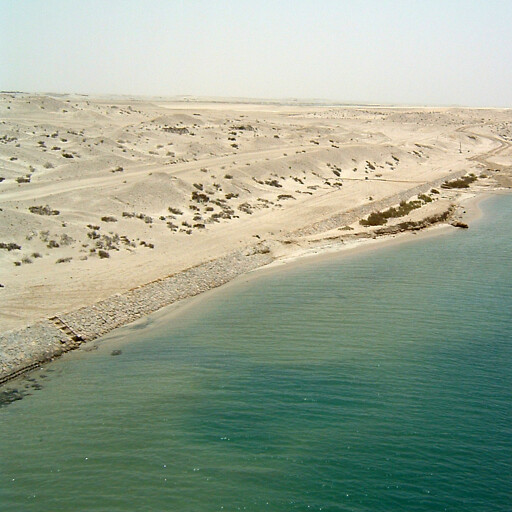 panorama of the Suez Canal at the former Ballah Lakes