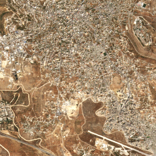 satellite view of the region around Ein Umm esh Sharayit