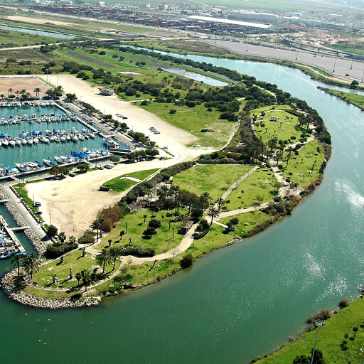 aerial panorama of the mouth of the Kishon River