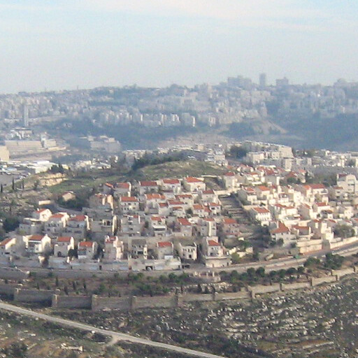 cityscape looking south including Khirbet el Burj at the top of the hill at center