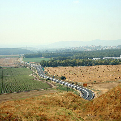 aerial panorama looking southeast at part of the plain between Taanach and Megiddo