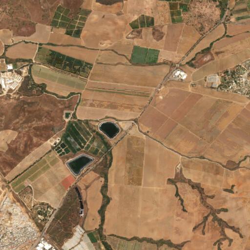 satellite view of the region around Horbat Gluma