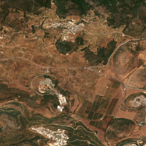 satellite view of the region around Khirbet Zeitun er Rameh