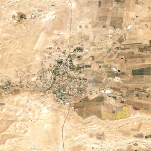 satellite view of the region around Khirbet el Aujah et Tahta