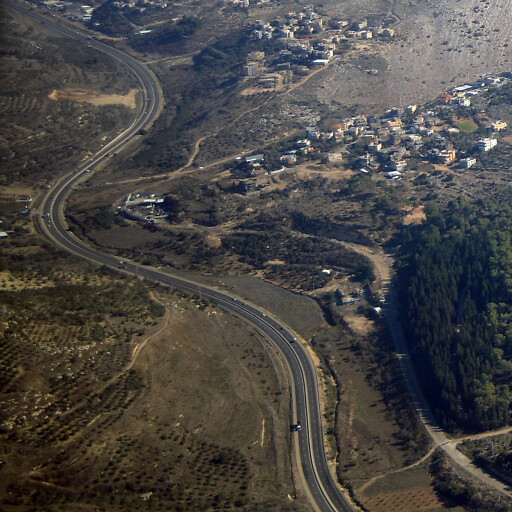aerial panorama of Wadi Ara, which runs by the road
