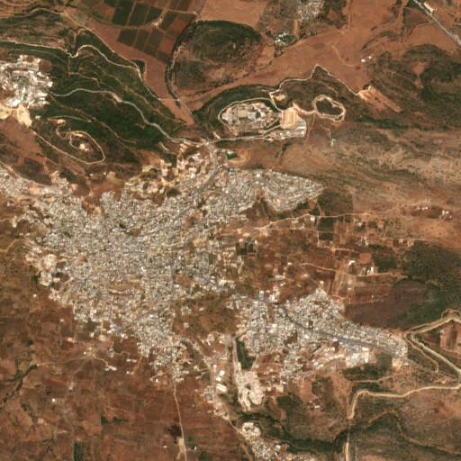 satellite view of the region around Khirbet el Mansurah
