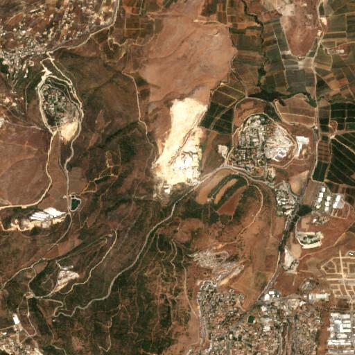 satellite view of the region around Givat ha Shoqet