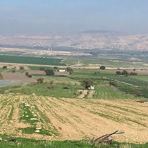 panorama of the region including Khirbet Khishash ed Deir, which is at center