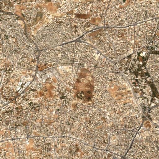 satellite view of the region around Khirbet Jubeiha