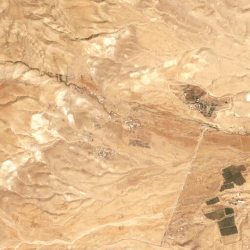 satellite view of the region around Khirbet el Aujah