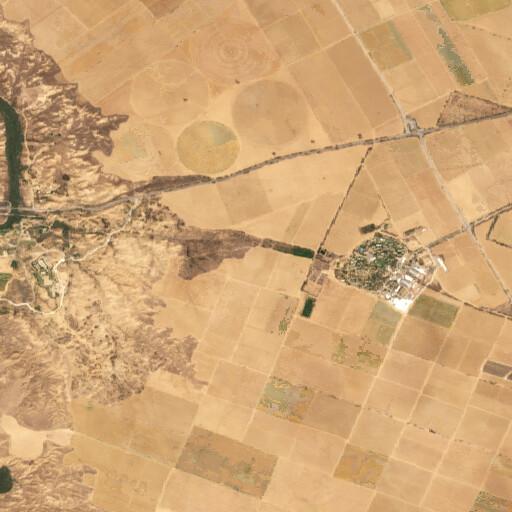 satellite view of the region around Ein esh Shallala