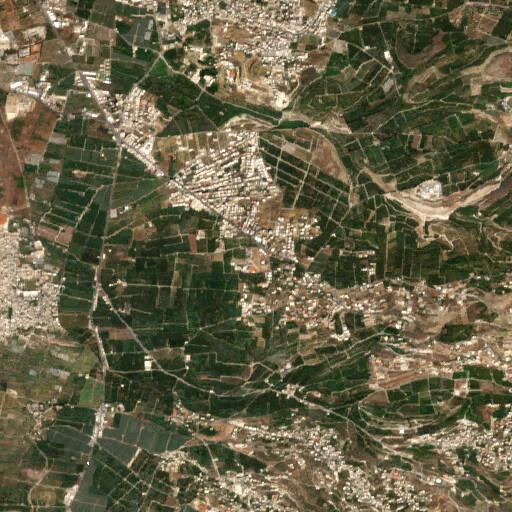 satellite view of the region around Khirbet el Hos