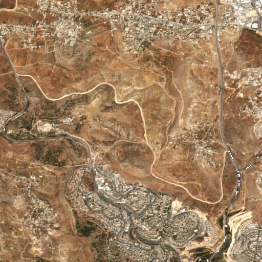 satellite view of the region around Khirbet Hazzur