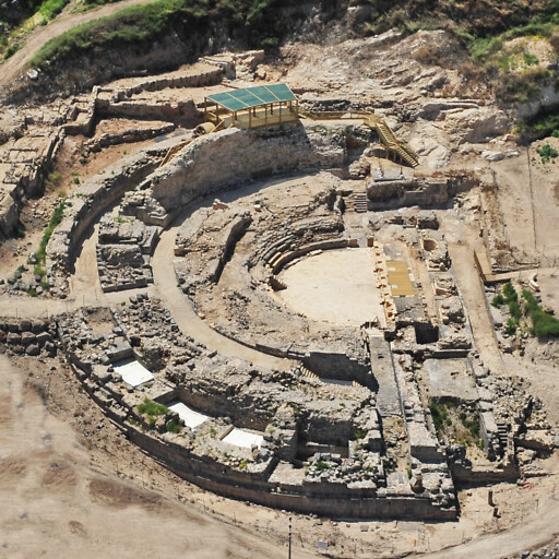 aerial panorama of the ancient theater at Tiberias