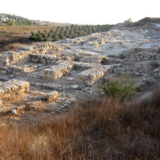 panorama of ruins at Tel Gezer