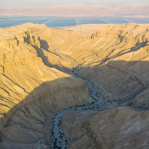 aerial panorama looking east approximately along the road between the Dead Sea and Arad