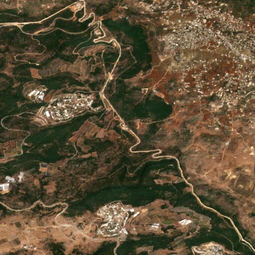 satellite view of the region around Tell er Rahb