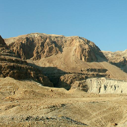 panorama of cliffs at the mouth of Wadi Hasasah