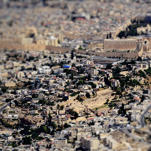 tilt-shift cityscape of the City of David