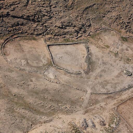 aerial panorama of ruins at Bedhat esh Sha'ab
