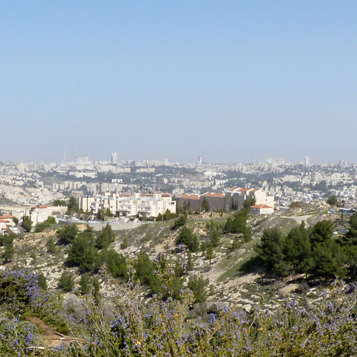 panorama including Beit Irza, which is on the hill in the foreground