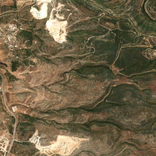 satellite view of the region around Khirbet es Sira