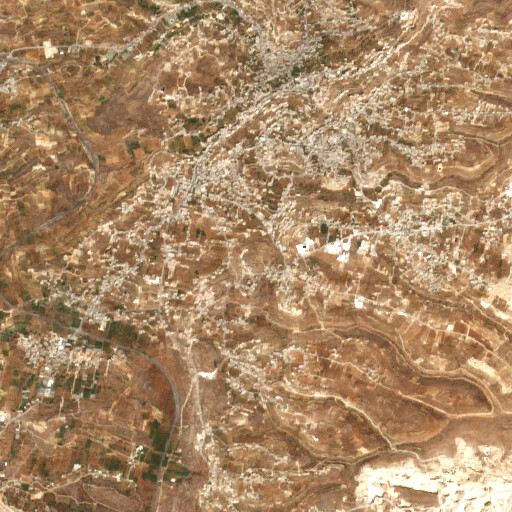 satellite view of the region around Khirbet Ras at Tawil