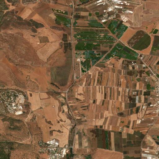 satellite view of the region around Khirbet Irbadeh