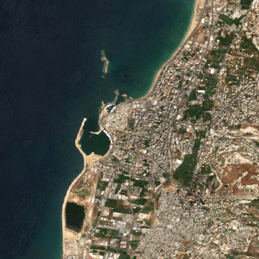satellite view of the region around the Sandikli archaeological site in Sidon