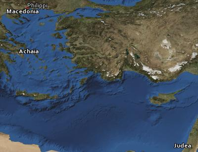 Satellite image of the places in 1 Thessalonians