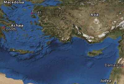 Satellite image of the places in 2 Corinthians