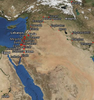 Satellite image of the places in 2 Kings