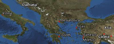 Satellite image of the places in 2 Timothy