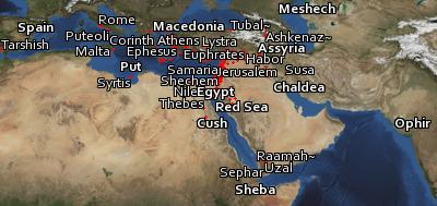 Satellite map of the places in the Bible