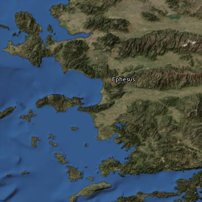 Satellite image of the places in Ephesians