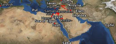 Satellite image of the places in Isaiah