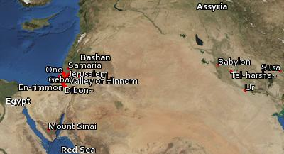 Satellite image of the places in Nehemiah