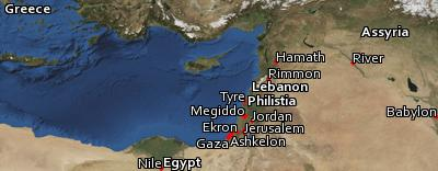 Satellite image of the places in Zechariah